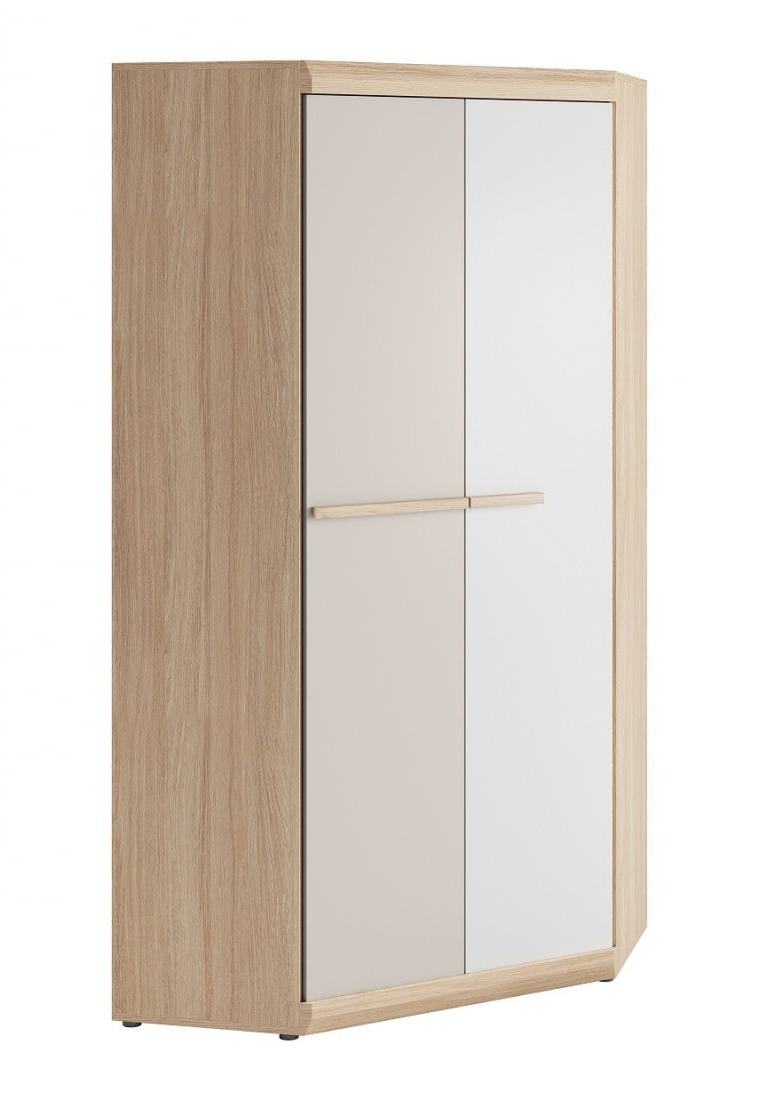 Recent Corner Wardrobe Happy In White And Champagne Oak – Living Room Throughout Oak Corner Wardrobes (View 12 of 15)