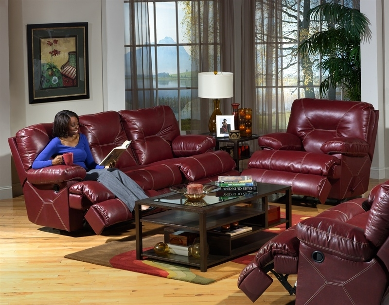 Recent Cortez Dual Reclining Sofa In Dark Red Leathercatnapper – 4291 R With Red Leather Reclining Sofas And Loveseats (View 6 of 10)