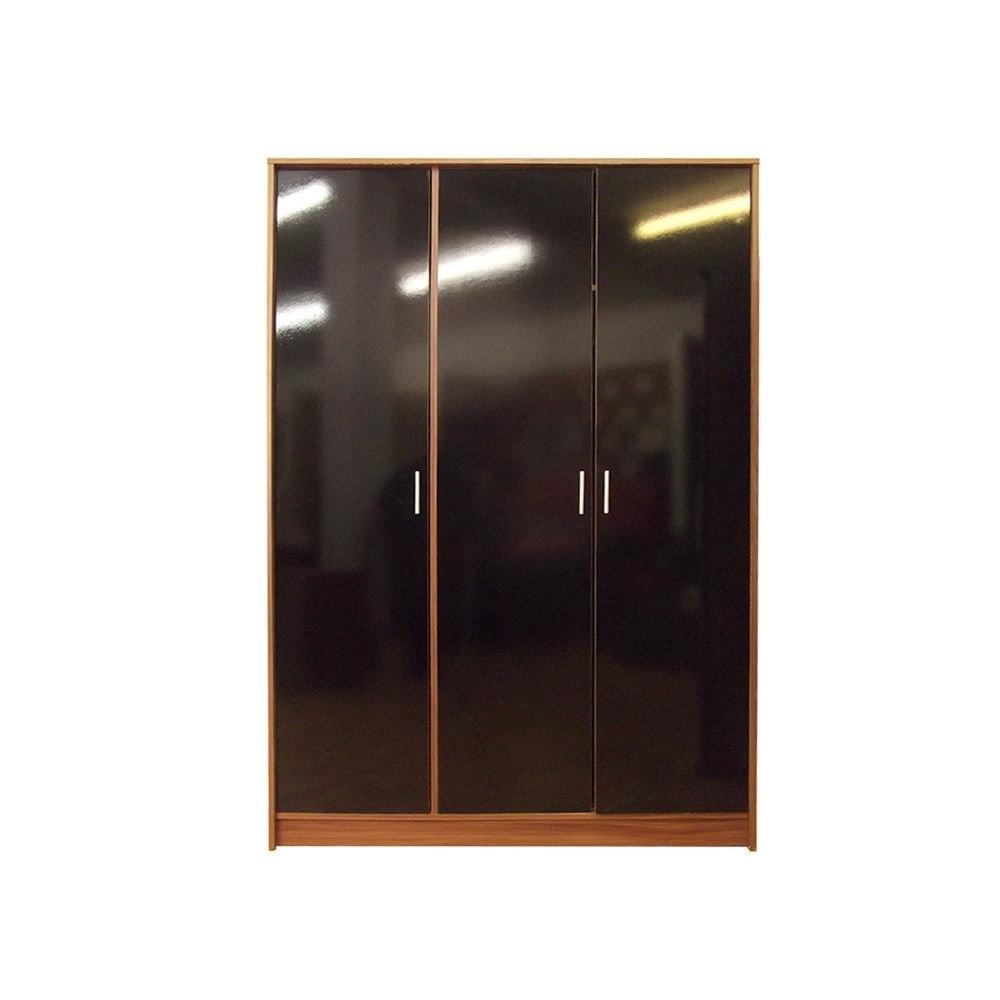 """Recent Direct Furniture """"khabat"""" 3 Door Plain Wardrobe, Mdf/chipboard Regarding 3 Door Black Gloss Wardrobes (View 5 of 15)"""