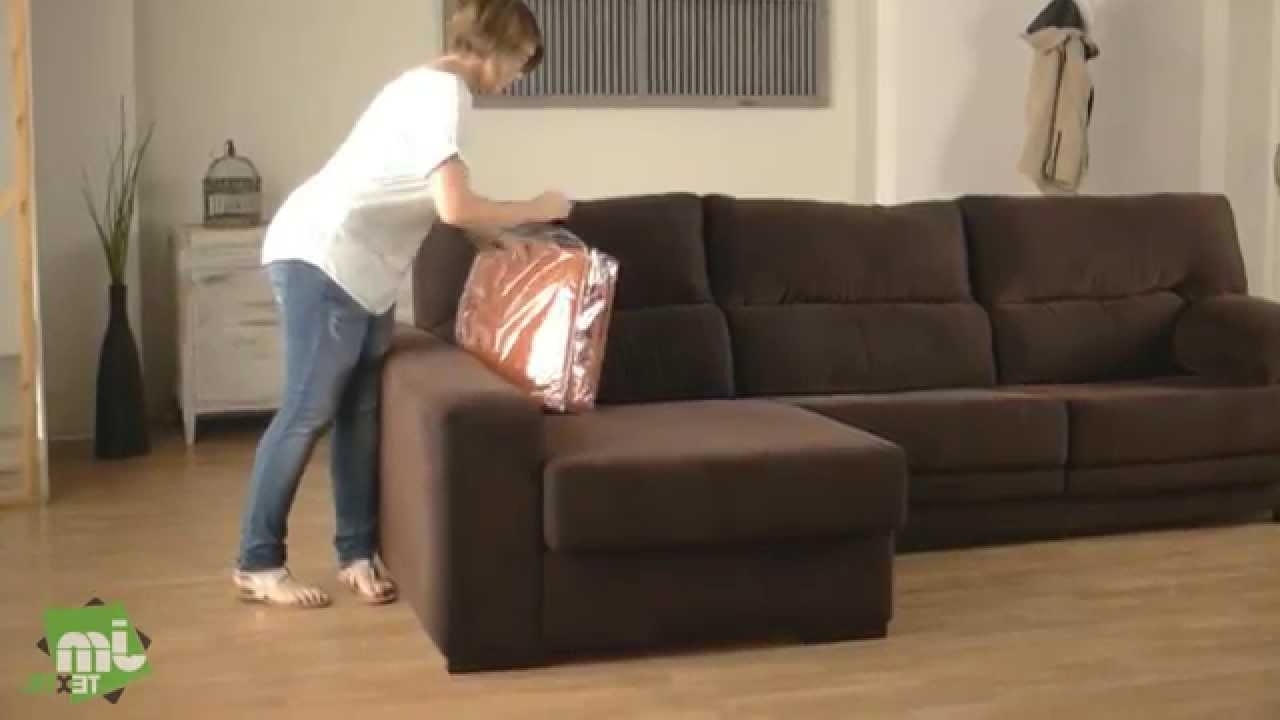 Recent How To Put A Stretch Chaise Sofa Cover – Youtube In Chaise Covers (View 7 of 15)