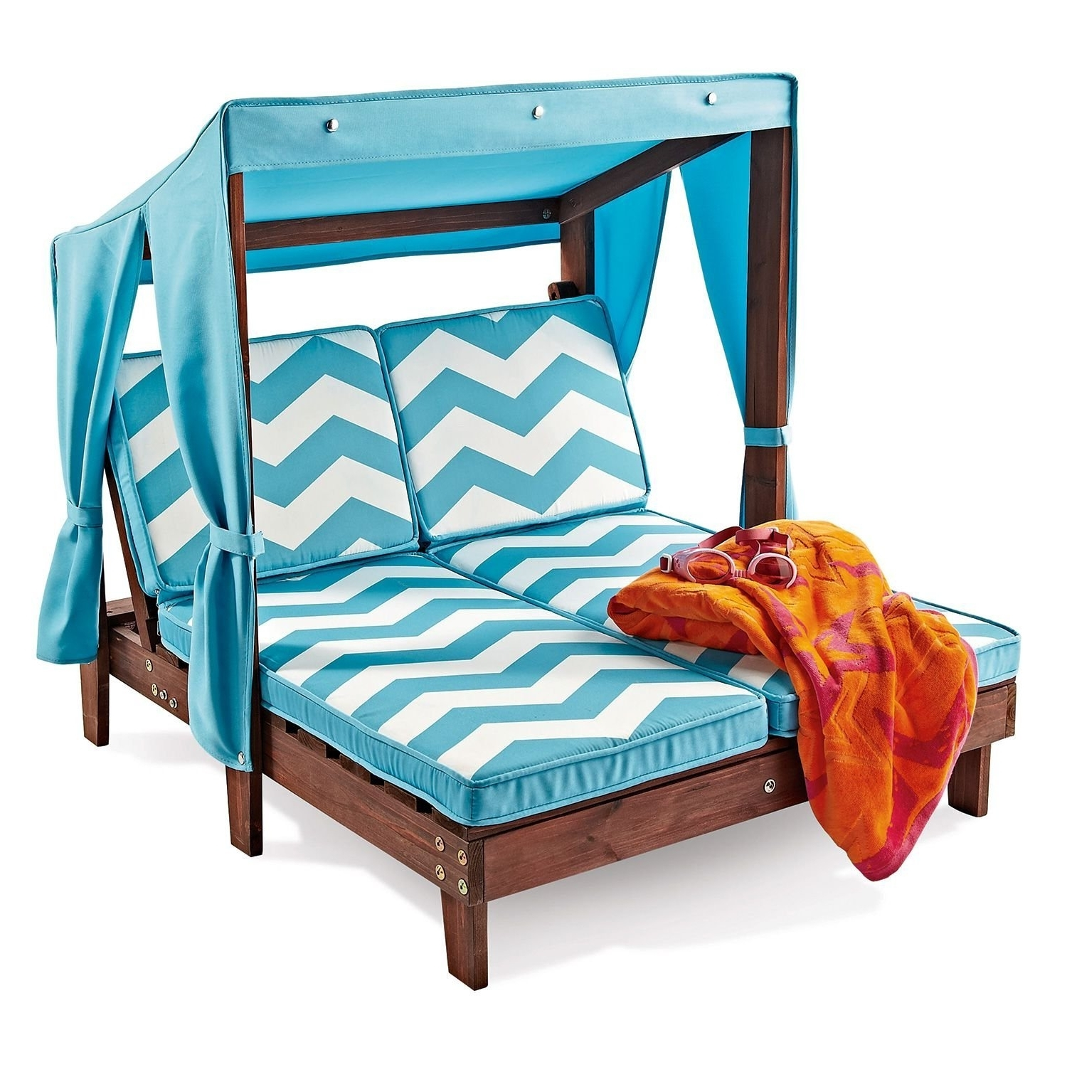 Recent Kidkraft Double Chaise Lounges Intended For Amazon: Outdoor Kid's Double Chaise Lounge Chair W/ Canopy (View 12 of 15)