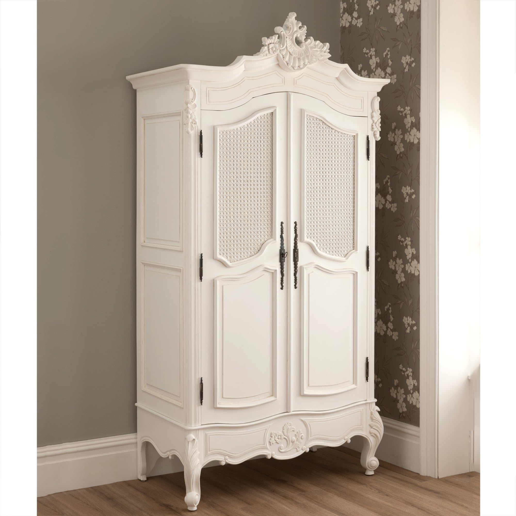 Recent La Rochelle 2 Door Antique French Rattan Wardrobe With White French Wardrobes (View 10 of 15)
