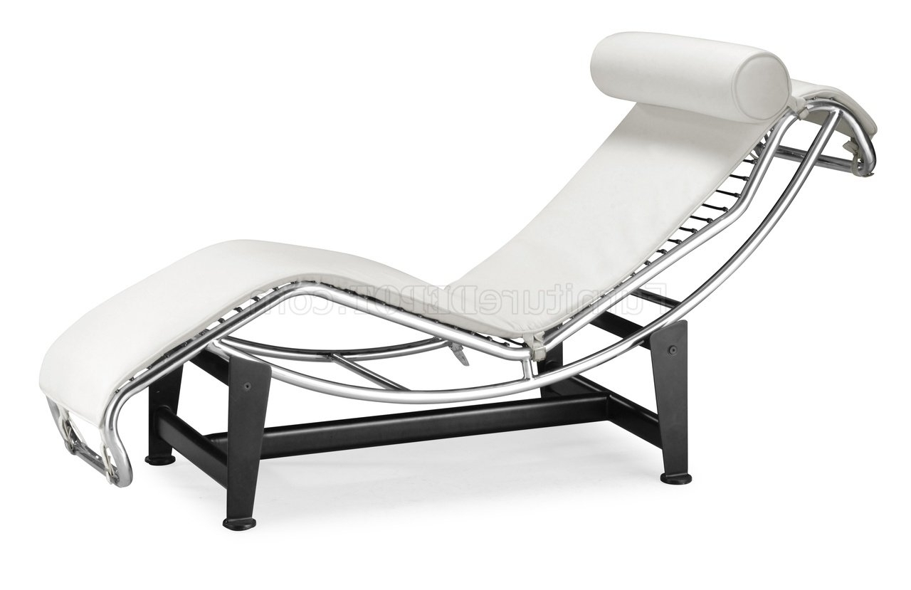 Recent Or White Leather Upholstery Modern Chaise Lounger Throughout Modern Chaises (View 11 of 15)