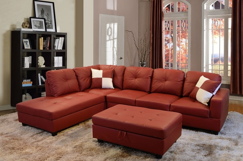 Recent Red Faux Leather Sectionals Inside Low Profile Red Faux Leather Sectional Sofa W/ Right Arm Chaise (View 7 of 10)