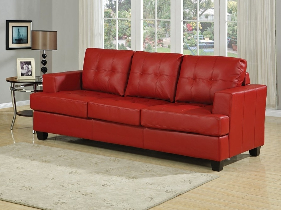 Recent Red Leather Couches Within Red Leather Sofa Bed (View 7 of 10)