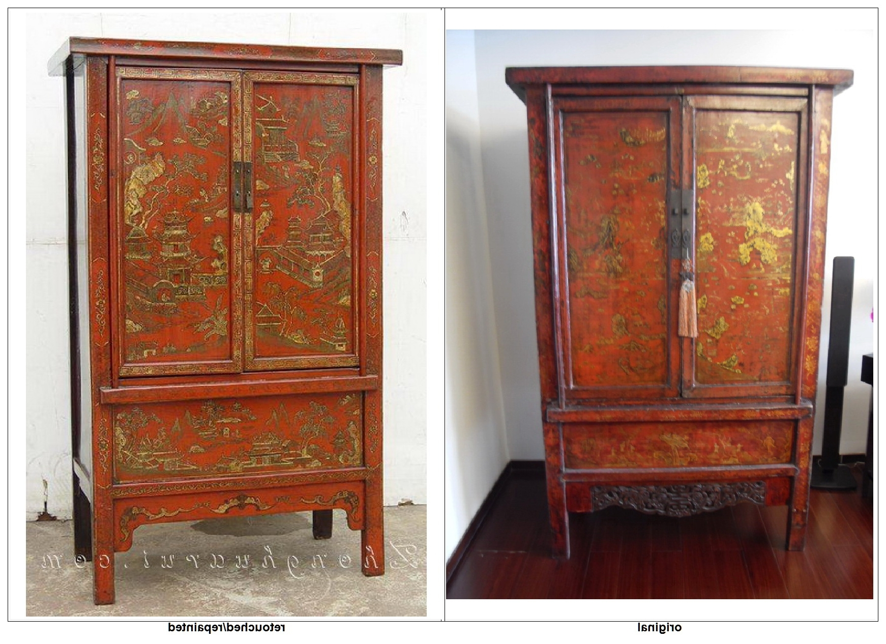 Recent Red Or Black Lacquer Gilt Paintings – Determining The Old From The With Chinese Wardrobes (View 11 of 15)