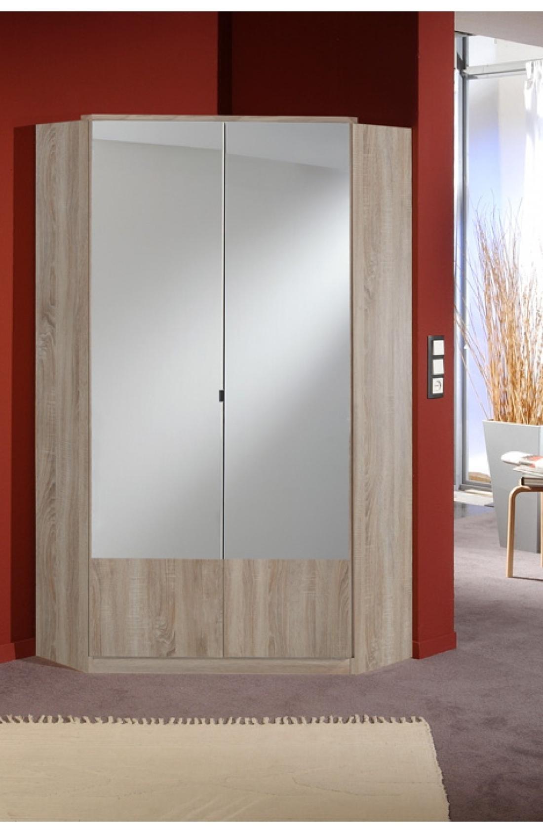 Recent Slumberhaus 'imago' German Made Modern Light Oak & Mirror 2 Door Pertaining To Oak Corner Wardrobes (View 13 of 15)