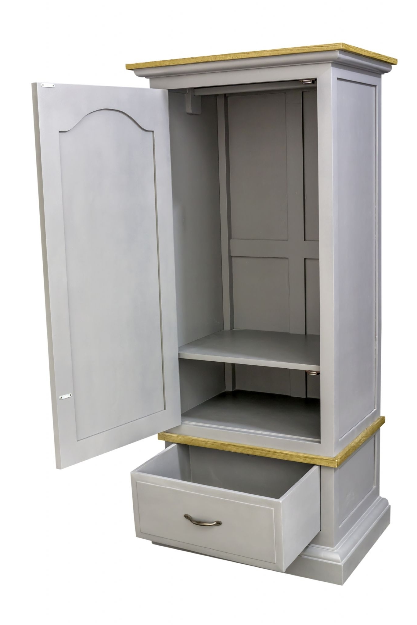Recent Small Single Wardrobes For Pine Shabby Chic Storm Grey Single Wardrobe (View 3 of 15)