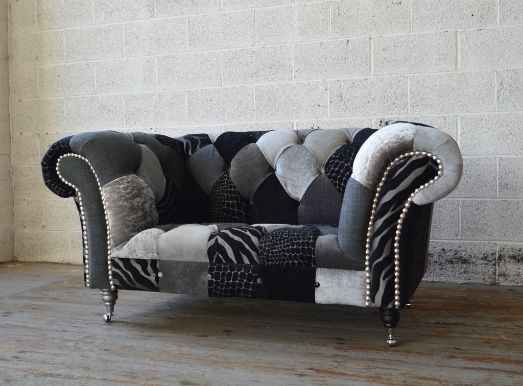 Recent Snuggle Sofas Pertaining To Walton Patchwork Chesterfield Snuggle Chair (View 6 of 10)