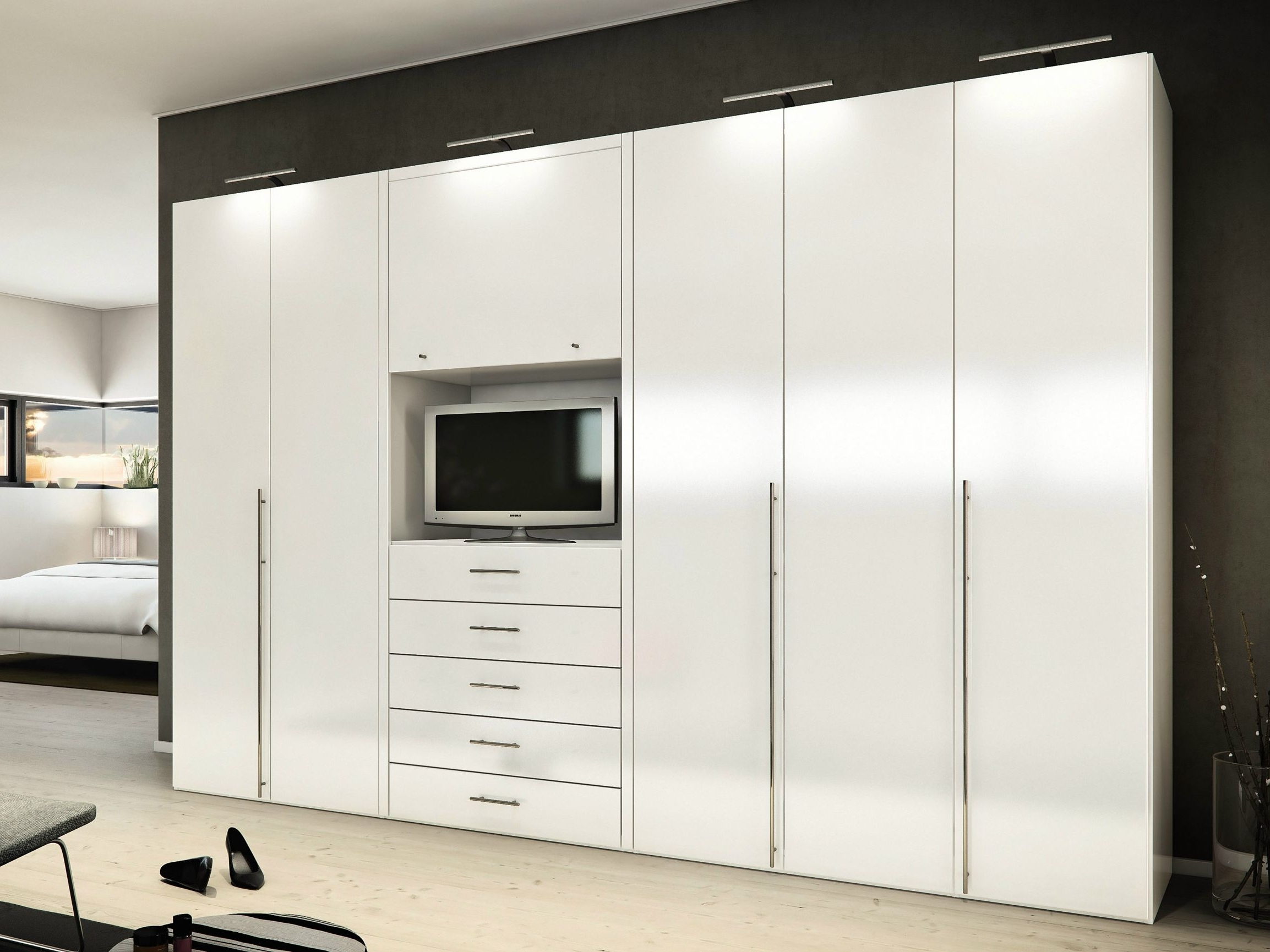 Recent Tall White Gloss Wardrobes With Bedroom Ideas Furniture Mesmerizing White High Gloss Built In (View 13 of 15)