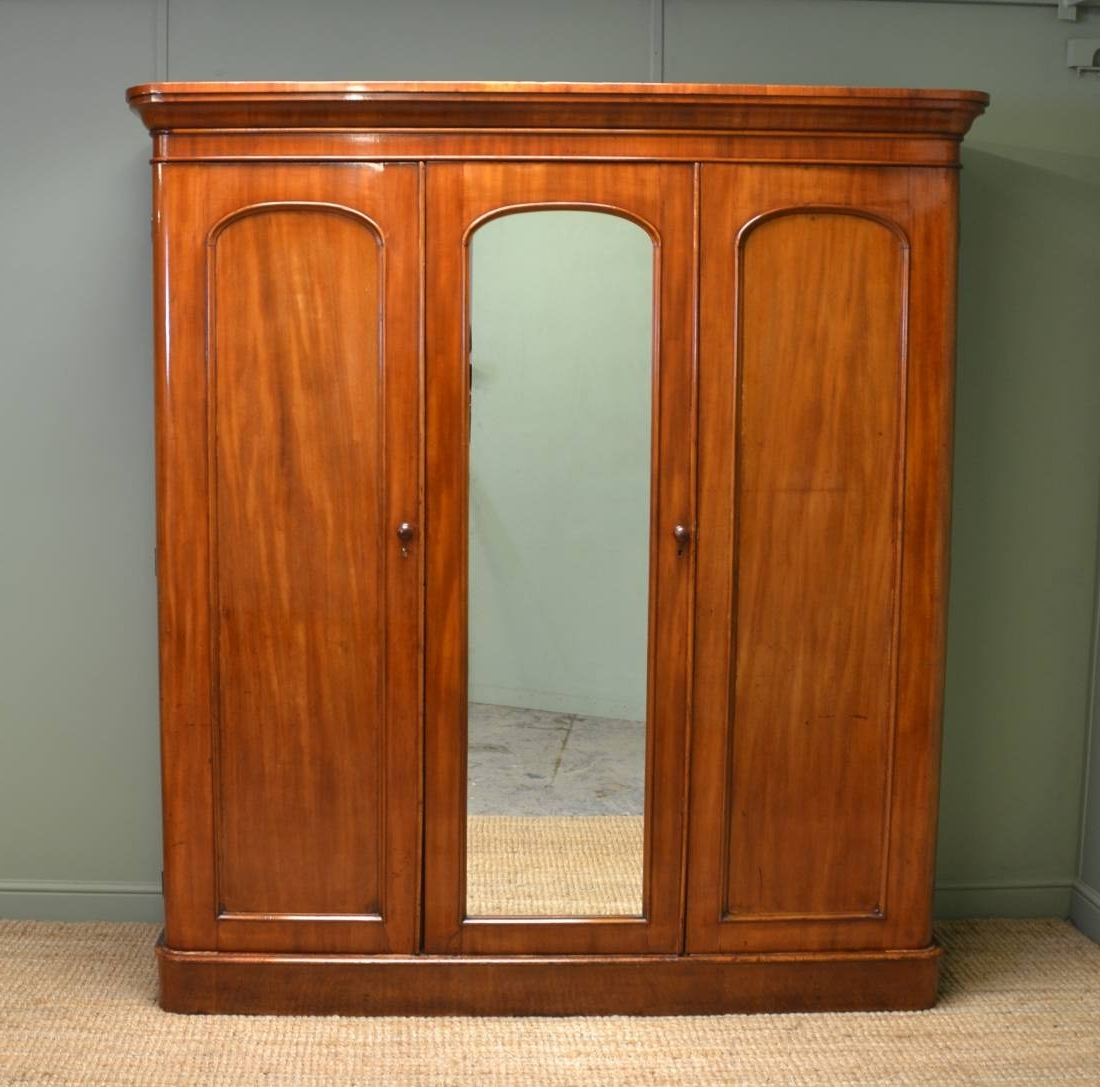 Recent Victorian Wardrobes For Sale With Regard To Victorian Antique Mahogany Triple Wardrobe – Antiques World (View 9 of 15)