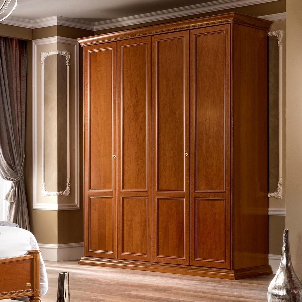 Recent Wardrobes With 4 Doors Pertaining To Treviso Ornate Cherry Wood 4 Door Wardrobe : F D Interiors Ltd (View 8 of 15)
