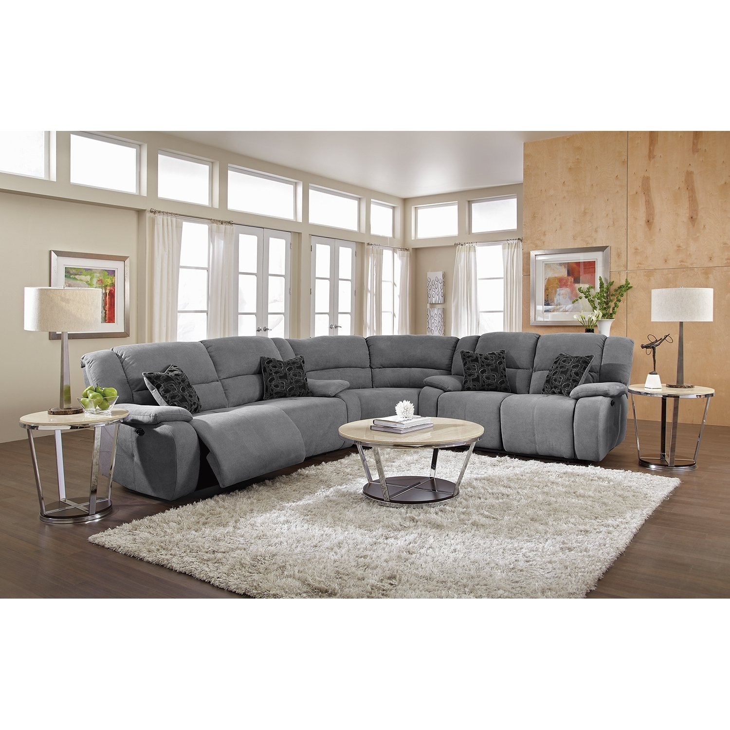 Reclining Sectional Leather Sectional Grey Sectional Sectionals Inside 2018 Grey Chaise Sectionals (View 6 of 15)