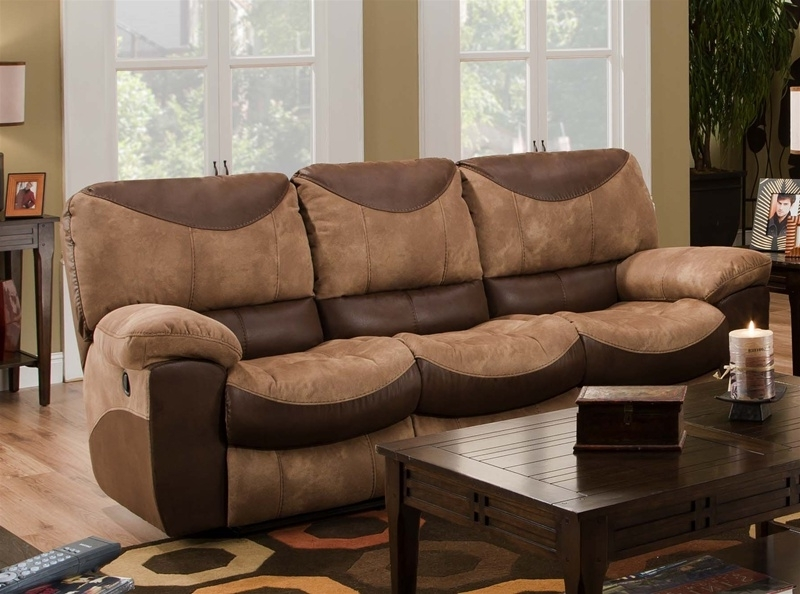 Reclining Sofa In Two Tone Chocolate And Saddle Fabric Regarding Widely Used Two Tone Sofas (View 5 of 10)