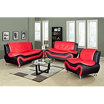 Red And Black Sofas Throughout Popular Amazon: Lifestyle Contempraray Faux Leather Living Room Sofa (View 4 of 10)