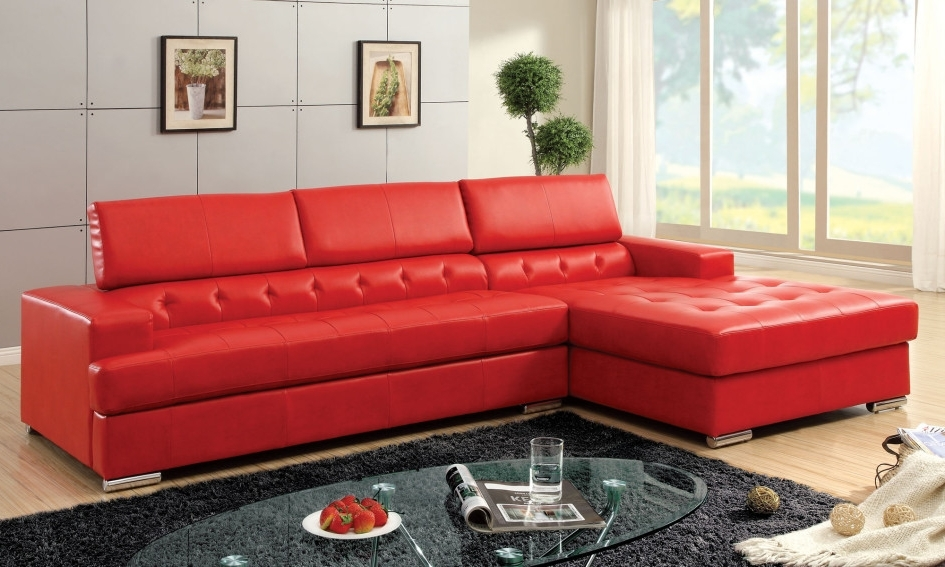 Red Faux Leather Sectionals Inside Newest Furniture: Modern Red Faux Leather Sectional Furniture For Small (View 9 of 10)