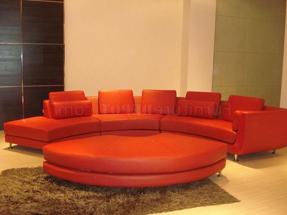 Red Leather Modern Sectional Sofa W/metal Legs & Ottoman With Regard To Trendy Red Leather Sectional Sofas With Ottoman (View 10 of 10)
