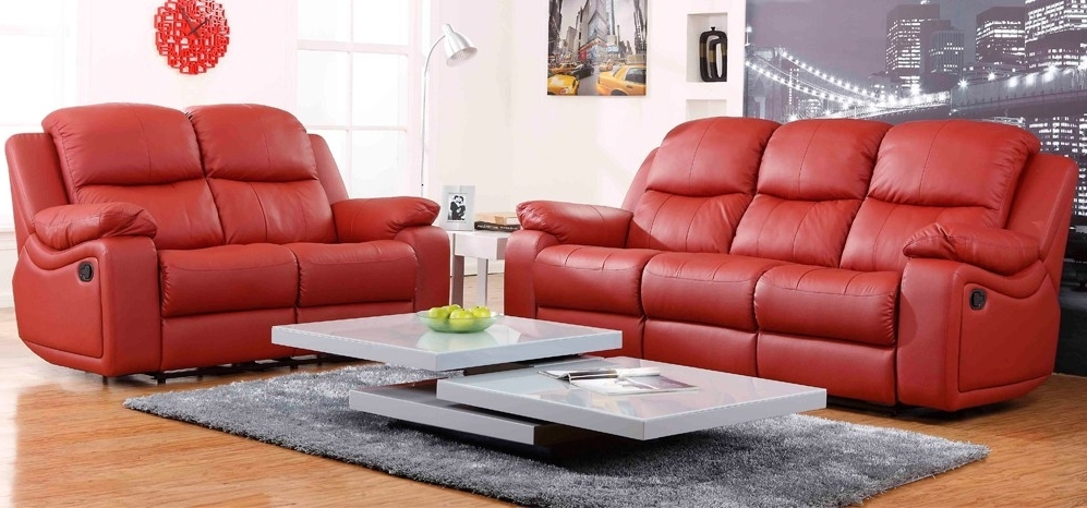 Red Leather Reclining Sofa Living Room Sleeper And Loveseat Set Intended For Well Known Red Leather Reclining Sofas And Loveseats (View 7 of 10)