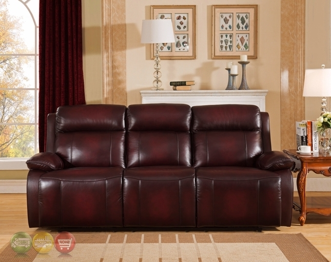 Red Leather Reclining Sofas And Loveseats Inside 2017 Genuine Leather Power Recline Sofa In Deep Red, Power Headrest (View 5 of 10)