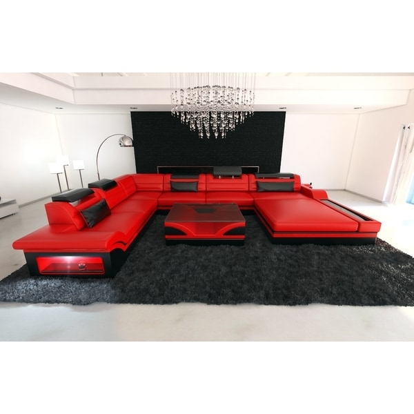 Red Leather Sectional Couches In Best And Newest Design Red Leather Sectional Sofa Orlando Xxl With Led Lights (View 9 of 10)