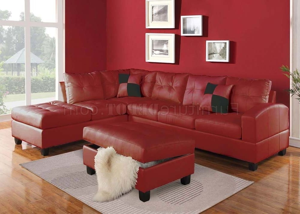 Red Leather Sectional Sofas With Ottoman Within Well Liked 51185 Kiva Sectional Sofa In Red Bonded Leatheracme (View 3 of 10)