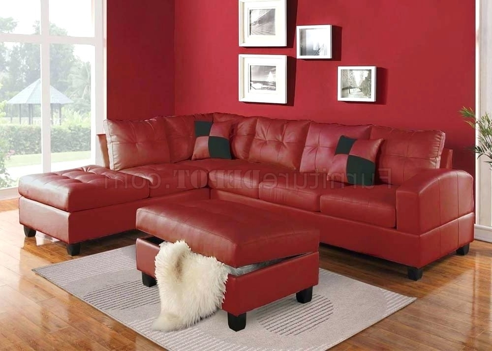 Red Leather Sectionals With Ottoman For Favorite Sectional ~ Red Leather Sectional Sofa With Chaise Red Sectional (View 6 of 10)