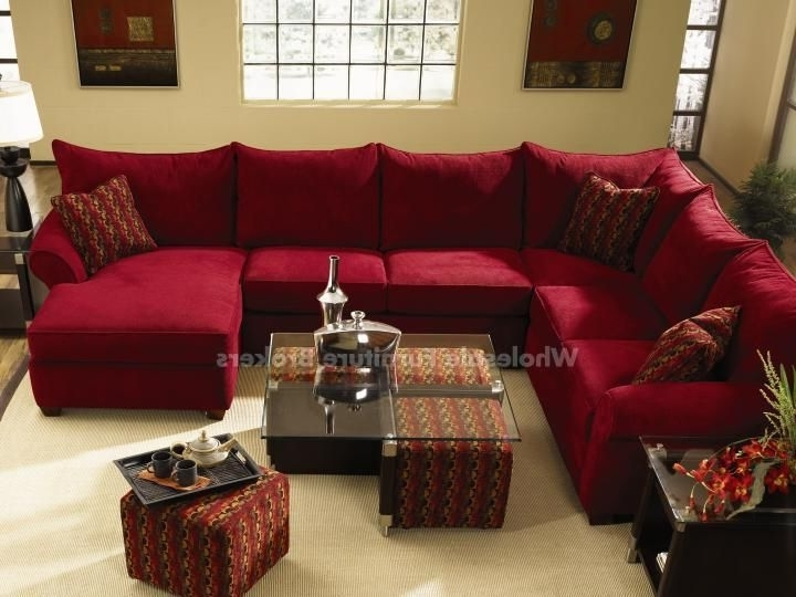 Red Leather Sectionals With Ottoman Throughout Popular Diggin' The Red Sectional And The Coffee Table With The Pull Out (View 9 of 10)