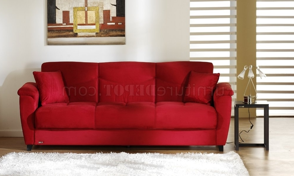 Red Sleeper Sofas Intended For Trendy Microfiber Fabric Living Room Storage Sleeper Sofa (View 8 of 10)