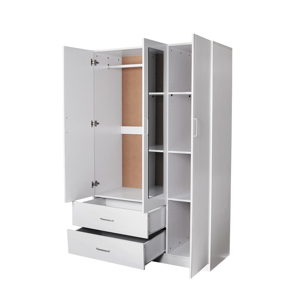 Redfern Utility Robe Wardrobe With Mirror, Black/white/beech, 3 Regarding Latest 3 Door White Wardrobes With Drawers (View 14 of 15)
