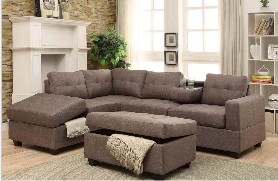 Rena Stone Reversible Sectional With Drop Down Tray + Storage Ottoman Pertaining To Latest Sectionals With Ottoman (View 5 of 10)