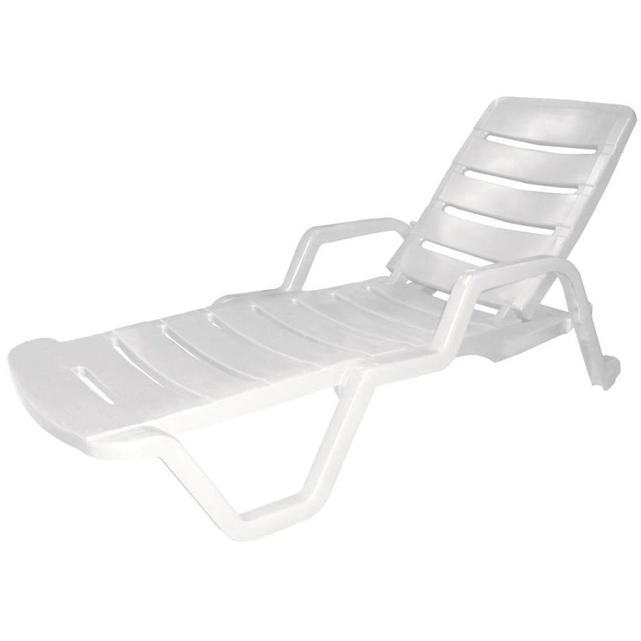 Resin Chaise Lounges In Newest Shop Adams Mfg Corp White Resin Stackable Patio Chaise Lounge (View 10 of 15)