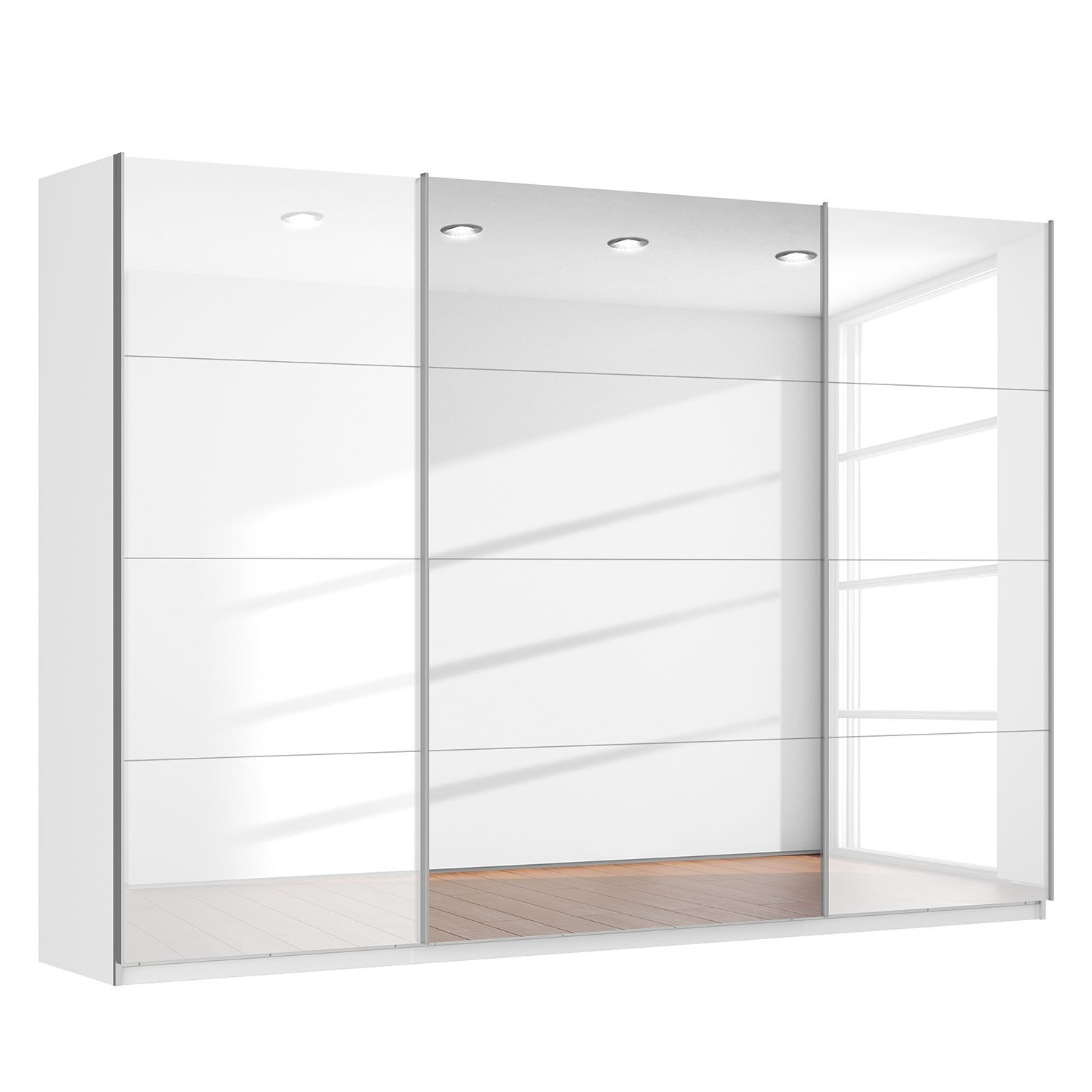 Rita Sliding Door Wardrobe High Gloss White With Centre Mirror In Popular White High Gloss Sliding Wardrobes (View 8 of 15)
