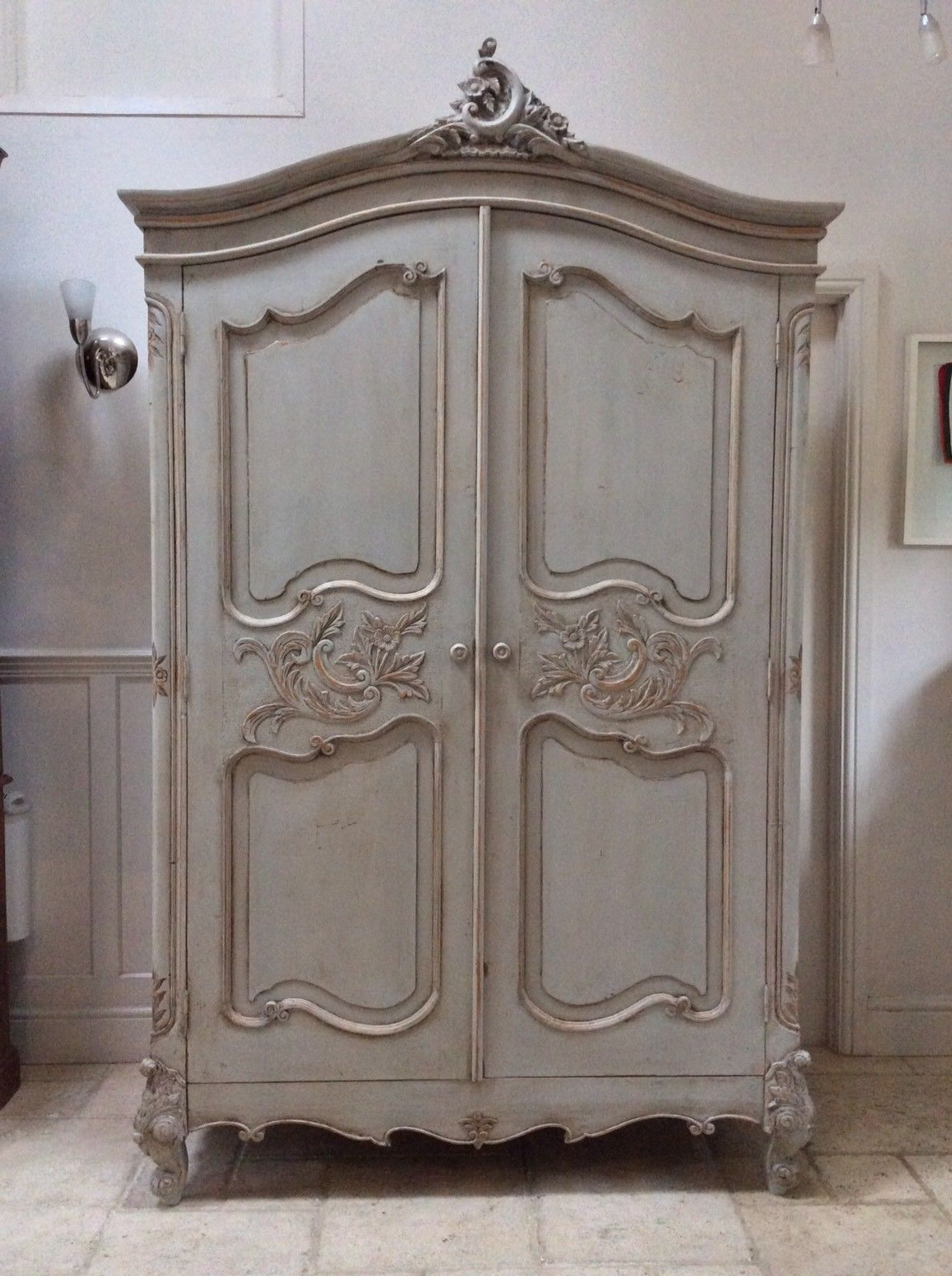 Rococo Wardrobes With Newest Pretty French Style Carved Louis Xv Painted Large Grey Armoire (View 11 of 15)