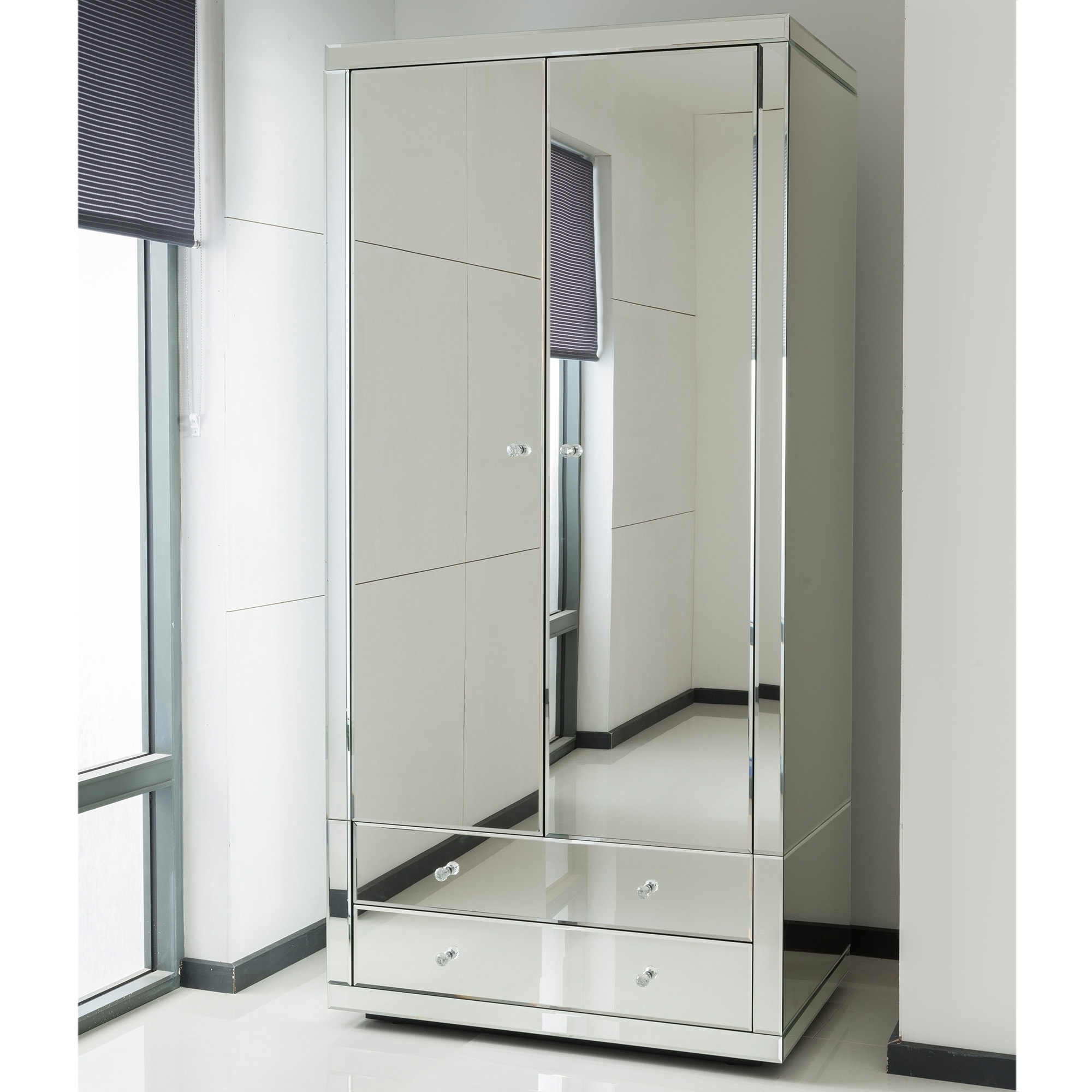 Romano Crystal Mirrored Wardrobe (View 9 of 15)