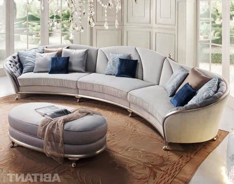 Round Sectional Sofas With Regard To Most Popular Round And Curved Sofa With Original Accent Furniture Kerala Home (View 7 of 10)