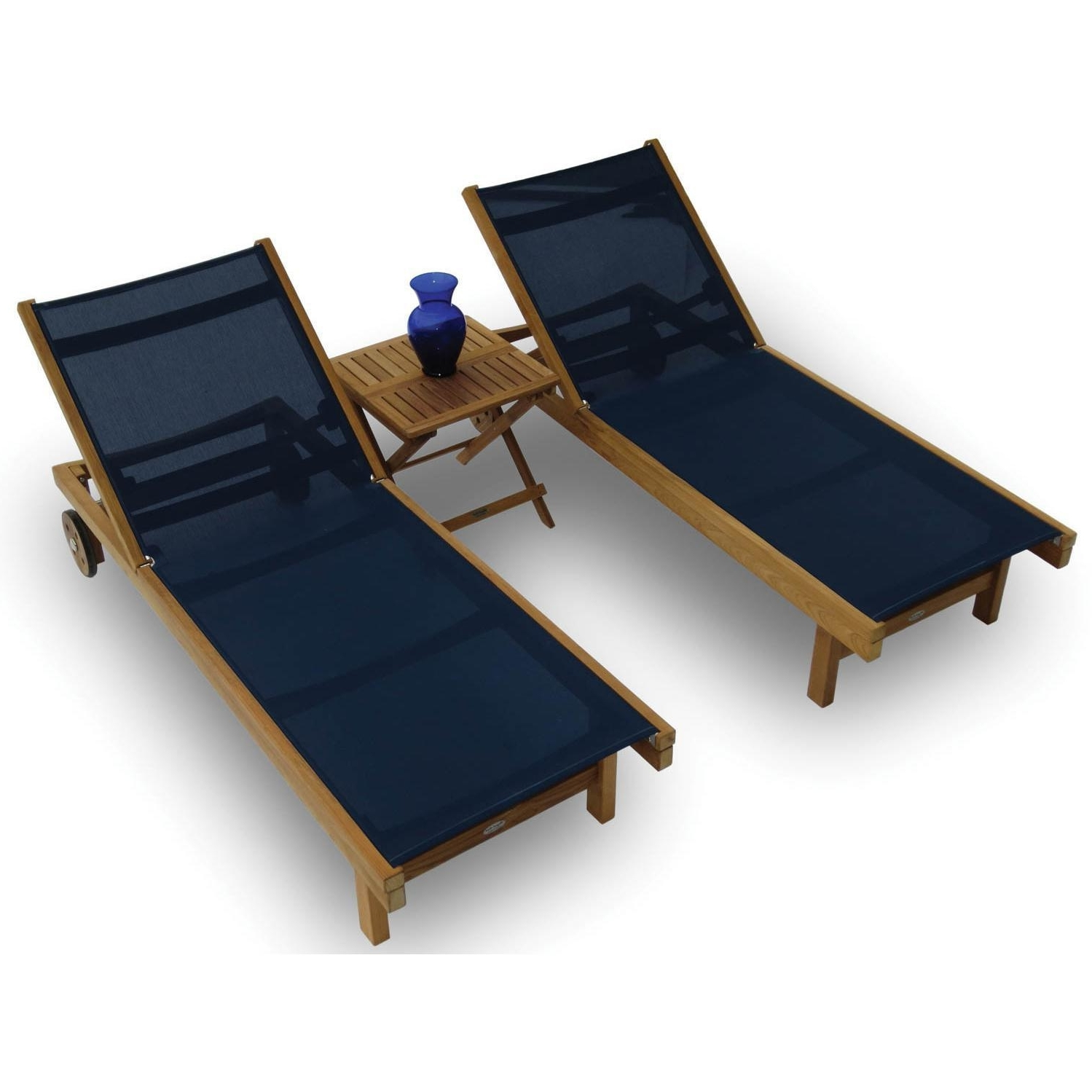 Royal Teak Collection Sundaze 2 Person Sling Chaise Lounge Set Intended For Preferred Sling Chaise Lounges (View 12 of 15)