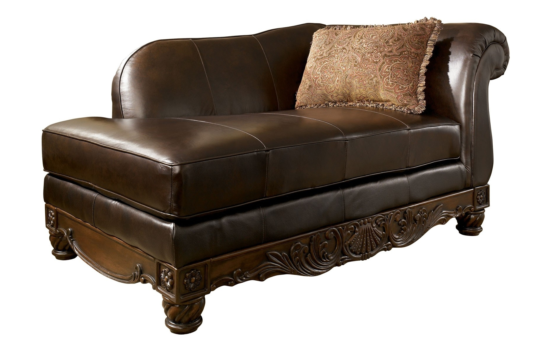 Rustic Chocolate Leather Chaise Lounge Chair With Single Arm And In 2018 Leather Chaise Lounge Chairs (View 13 of 15)