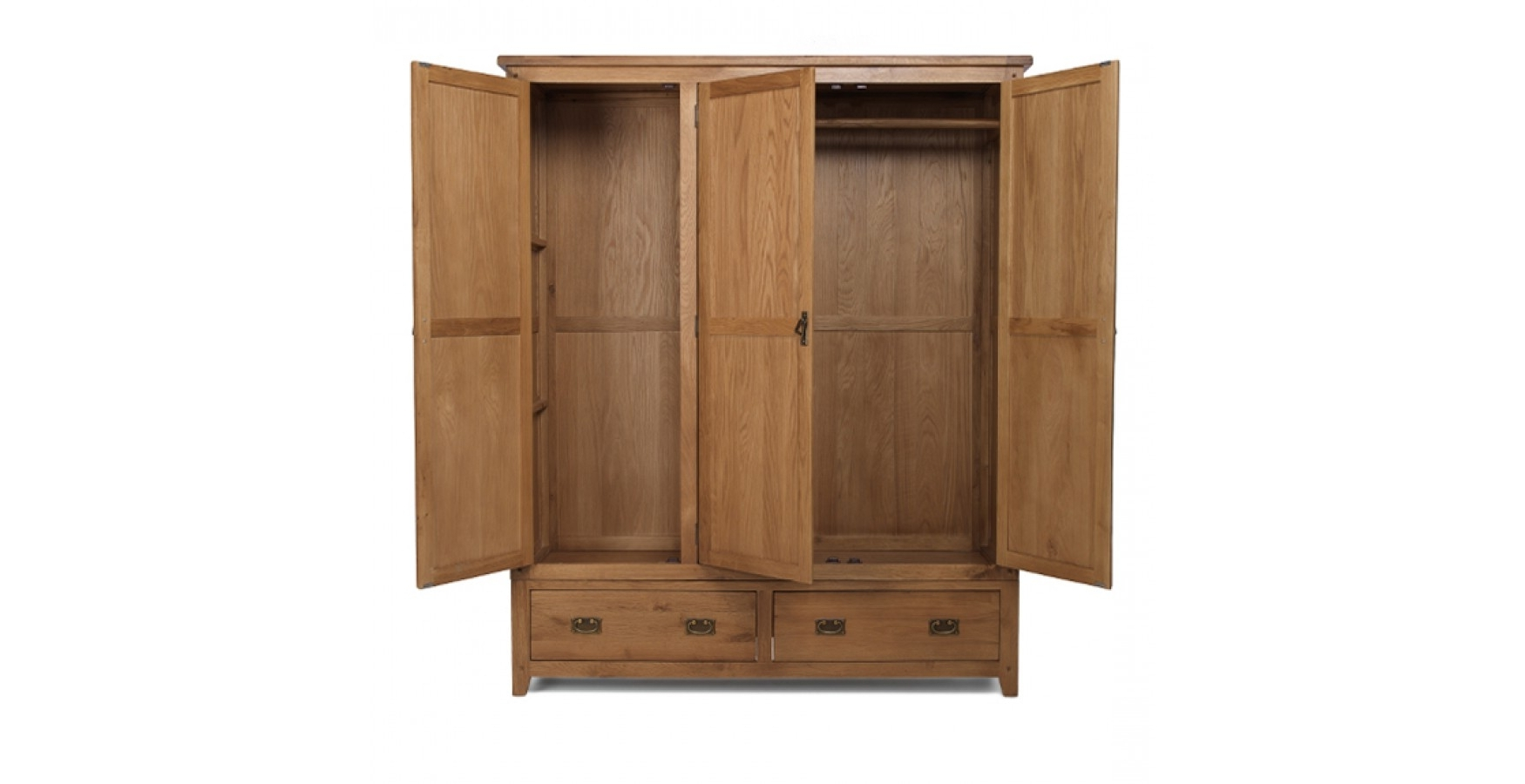 Rustic Oak Triple Wardrobe With Drawers – Lifestyle Furniture Uk Pertaining To Best And Newest Triple Oak Wardrobes (View 13 of 15)