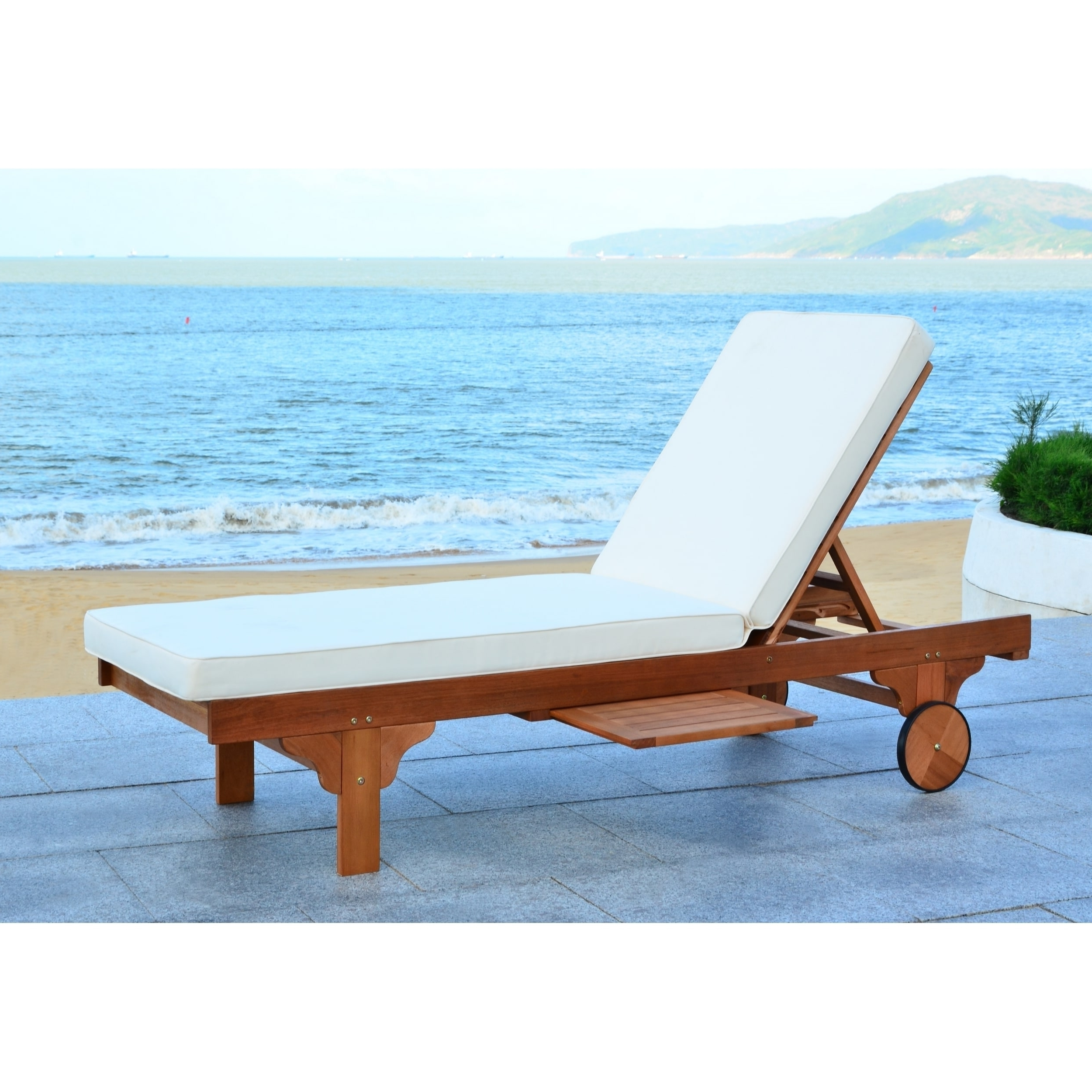 Safavieh Outdoor Living Newport Brown/ Beige Adjustable Chaise For Well Liked Newport Chaise Lounge Chairs (View 12 of 15)