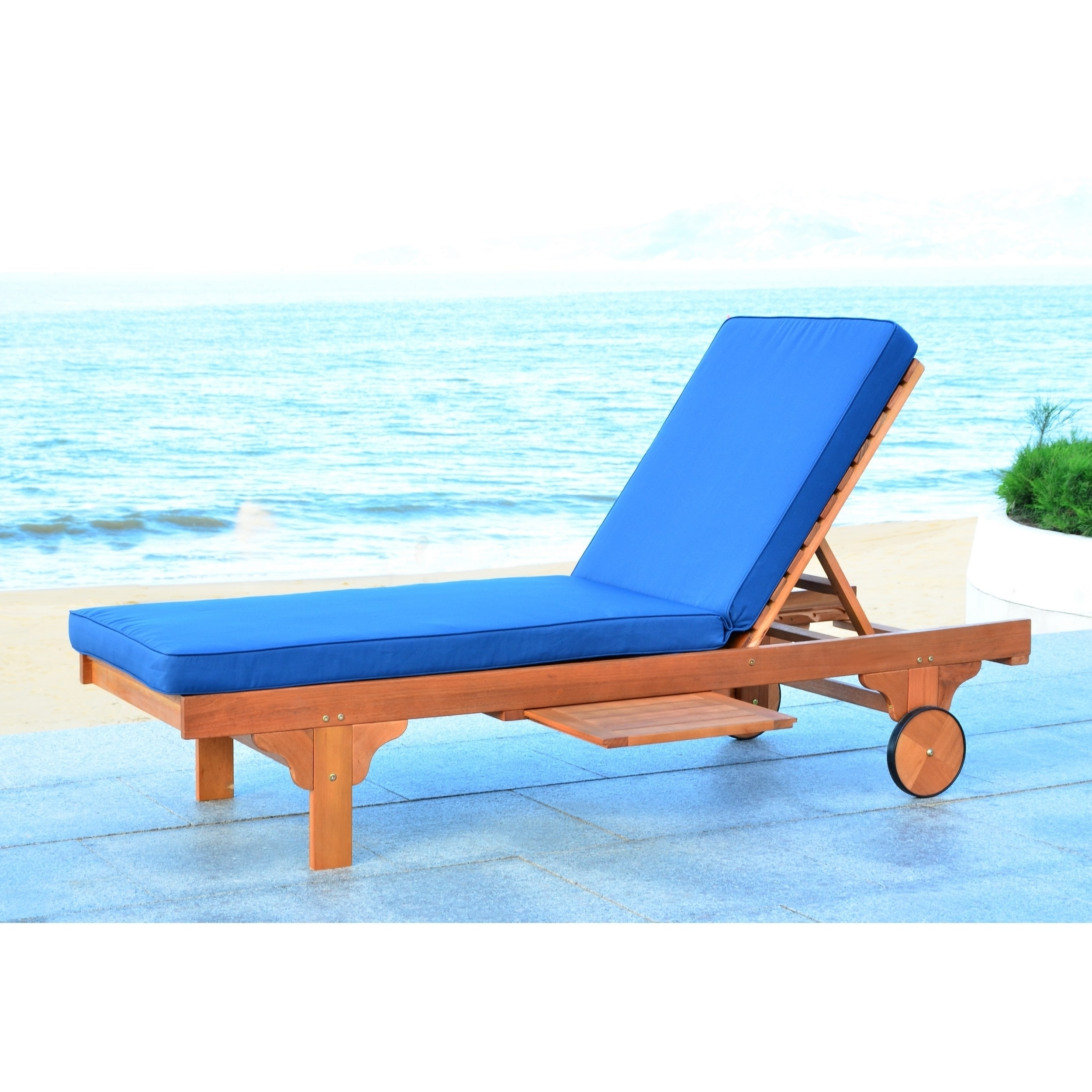 Safavieh Outdoor Living Newport Brown/ Navy Adjustable Chaise Pertaining To Most Recent Newport Chaise Lounge Chairs (View 9 of 15)