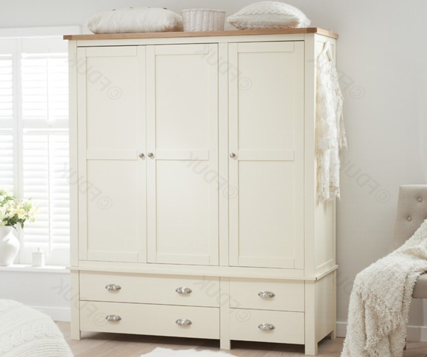 Featured Photo of Cream Triple Wardrobes