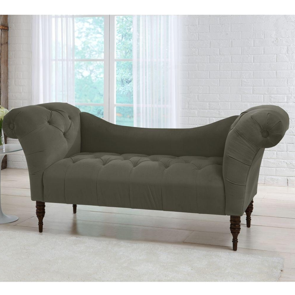 Savannah Pewter Velvet Tufted Chaise Lounge 6006vpew – The Home Depot Regarding Well Known Tufted Chaise Lounges (View 2 of 15)