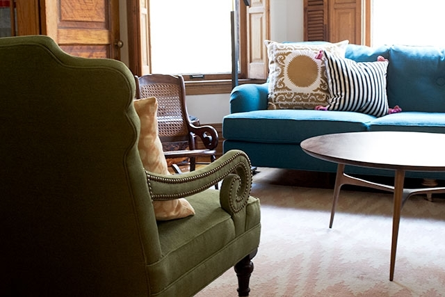 Scroll Arm Chairs In Front Of The Fireplace – Making It Lovely With Regard To Widely Used Blue Sofa Chairs (View 9 of 10)