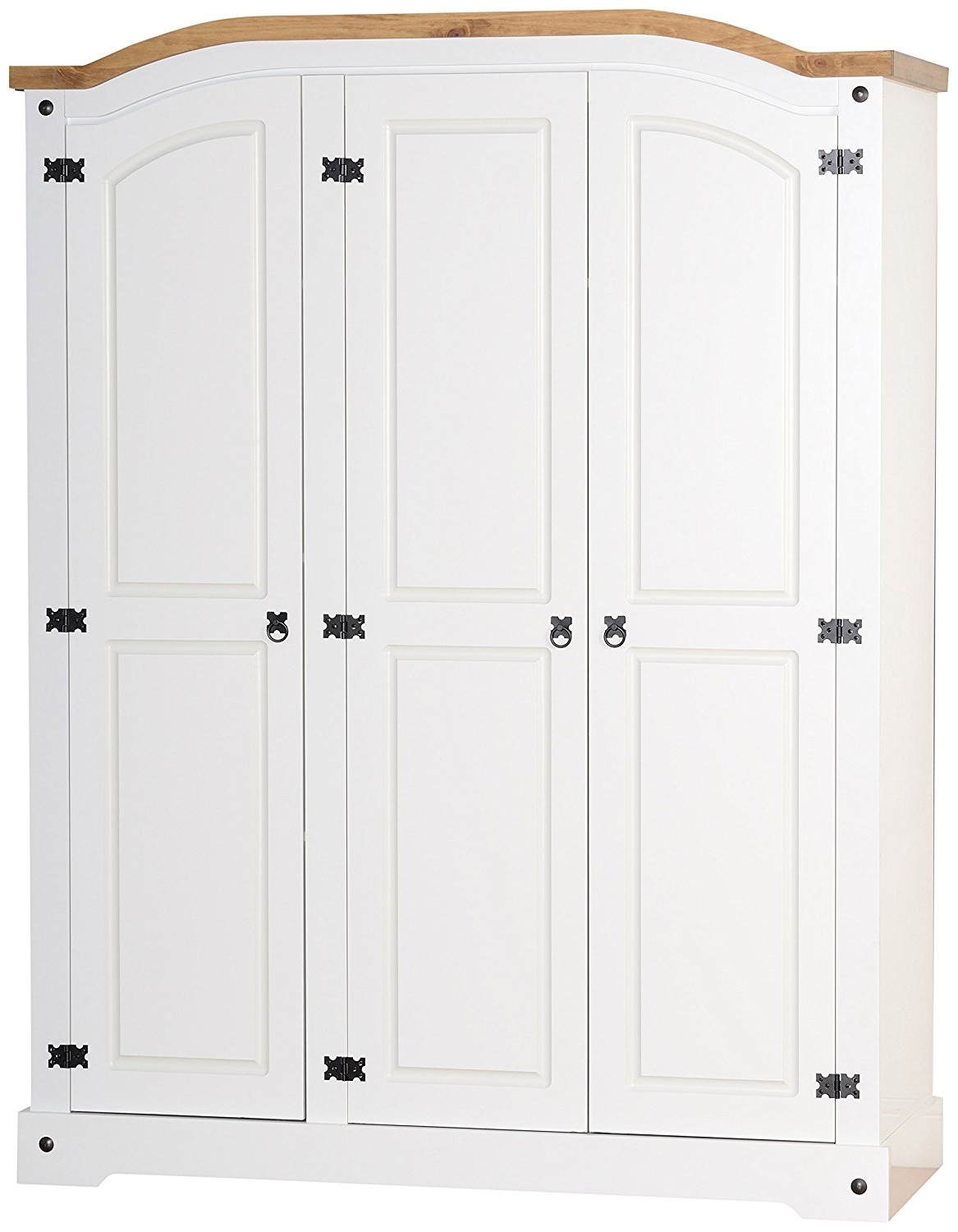 Seconique Corona 3 Door Wardrobe – White/distressed Waxed Pine In Well Known Whitewash Wardrobes (View 8 of 15)