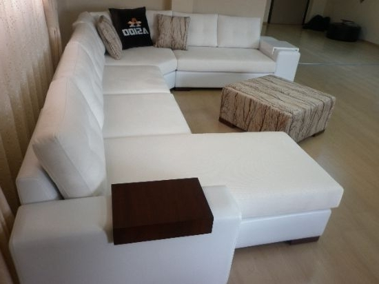 Sectional Living Room Corner Sofa With Sleeper White Exclusive Design With Regard To Current White Leather Corner Sofas (View 4 of 10)