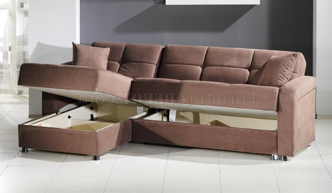Sectional Sleeper Sofas With Ottoman Pertaining To Recent Vision Sec Rainbow Sectional Sofa Bed Storage In Trufflesunset (View 8 of 10)