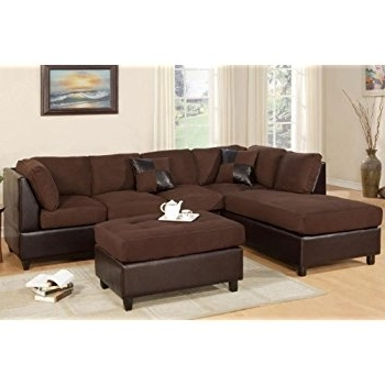Sectional Sofas Intended For Popular Amazon: New Chocolate Microfiber Leatherette Sectional Sofa (View 8 of 10)