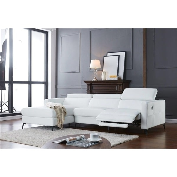 Sectional Sofas With Electric Recliners Intended For Trendy Ladeso Modern Sectional Sofa With Electrical Recliner Snow White (View 10 of 10)