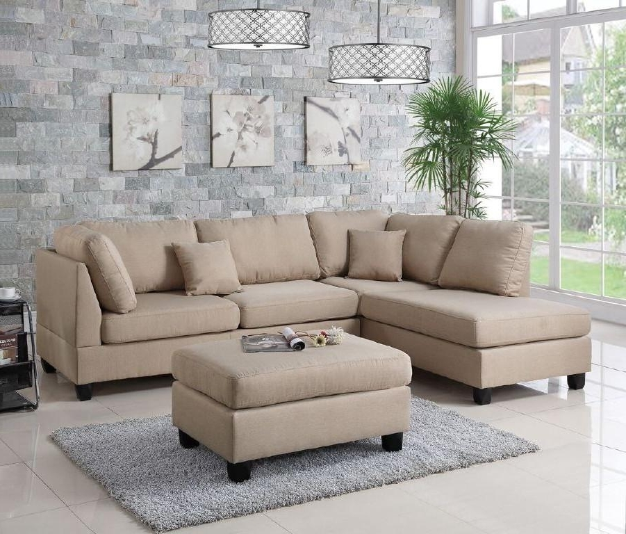 Sectional Sofas With Ottoman Intended For Most Up To Date Wayfair, Ifin1021, Amazon, Poundex, F7605, Sectional, Sand Beige (View 11 of 16)