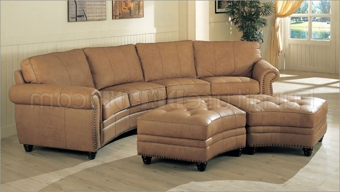 Sectional Sofas With Ottoman Regarding Widely Used Camel Leather Sectional Sofa & Ottoman Set W/nail Head Design (View 12 of 16)